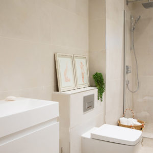 Bathrooms have underfloor heating under the natural stone floor. All the bathrooms features a large Bristan shower head and the products locally sourced.