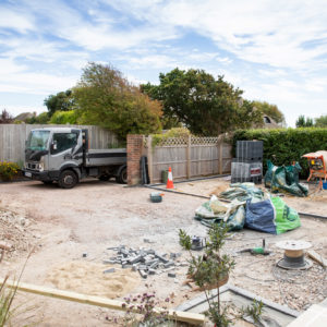 the driveway has been levelled and is prepared for the final layers of stone