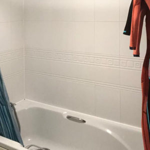 The bath will be replaced with a large double shower
